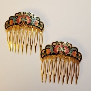 Jewelry - Cloisone Enameled Hair Combs